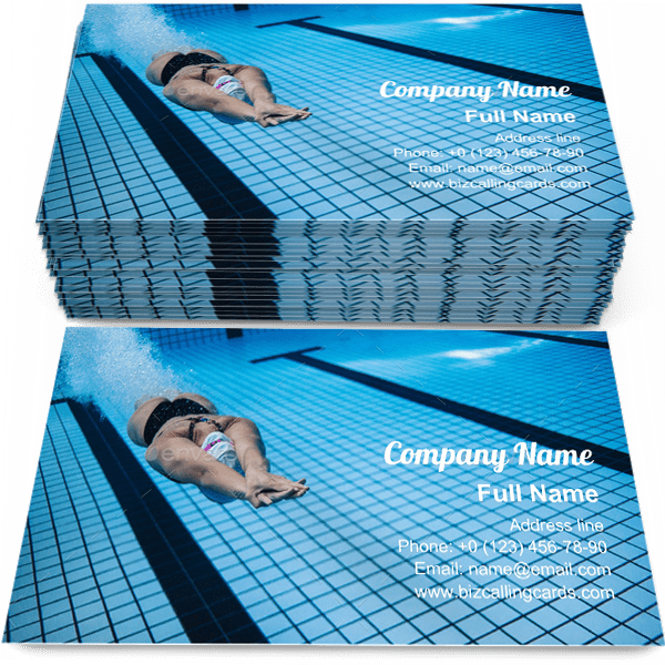 Sample of Training swimming pool business card design for advertisements marketing ideas and promote swimmer branding identity