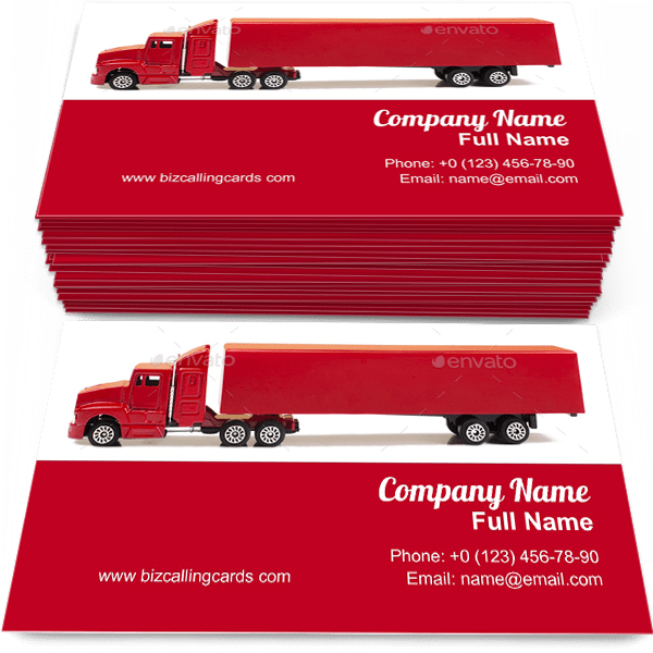 Sample of Transportation toy trailer business card design for advertisements marketing ideas and promote logistic branding identity