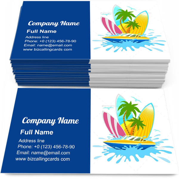 Sample of Travel Tropical Active Rest calling card design for advertisements marketing ideas and promote tropical voyage branding identity