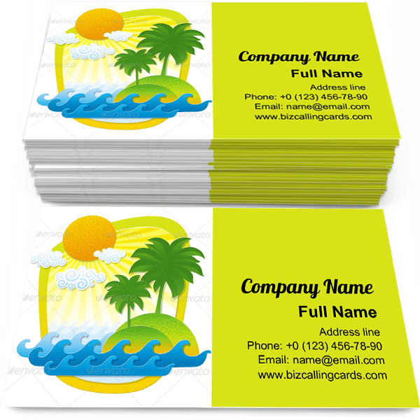 Sample of Tropical from Color Paper calling card design for advertisements marketing ideas and promote Travel Destination branding identity