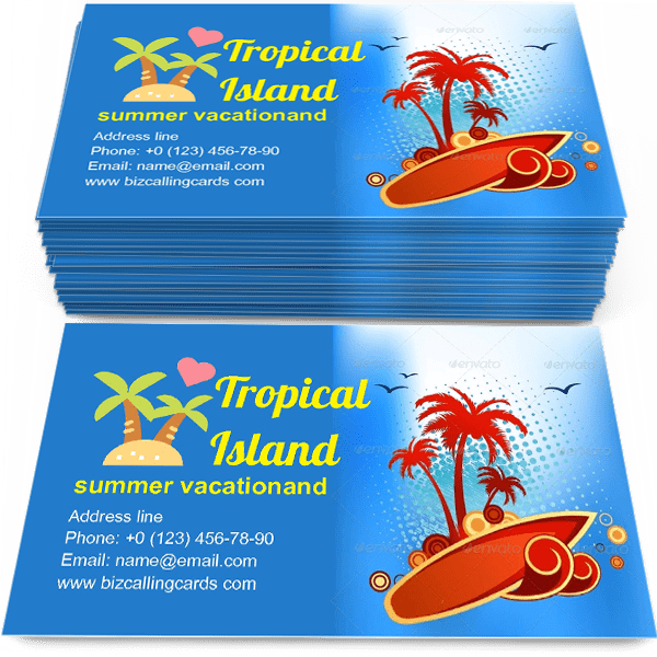 Sample of Tropical island with palm calling card design for advertisements marketing ideas and promote surfboard, summer vacationand travel branding identity