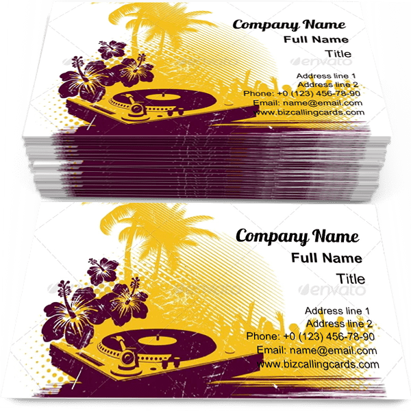 Sample of Tropical vinyl Party business card design for advertisements marketing ideas and promote beach party branding identity