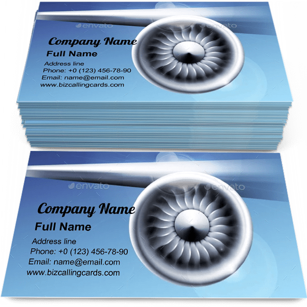 Sample of Turbine Engine Jet business card design for advertisements marketing ideas and promote Airplane branding identity
