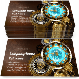 Unusual Clock with Gears Business Card Template