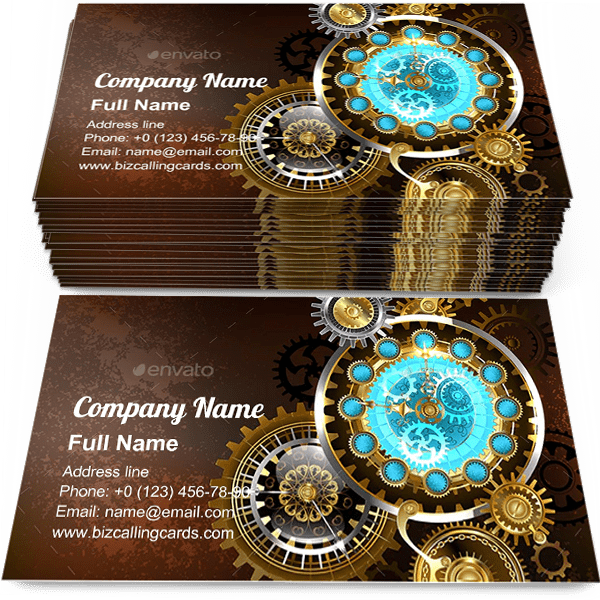 Sample of Unusual Clock with Gears business card design for advertisements marketing ideas and promote antique branding identity