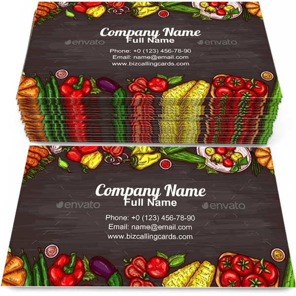 Sample of Various Vegetables business card design for advertisements marketing ideas and promote vegetable branding identity