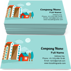 Vector houses illustrations Business Card Template