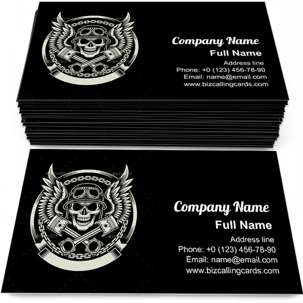Sample of Vintage Biker Skull business card design for advertisements marketing ideas and promote motorcycle branding identity