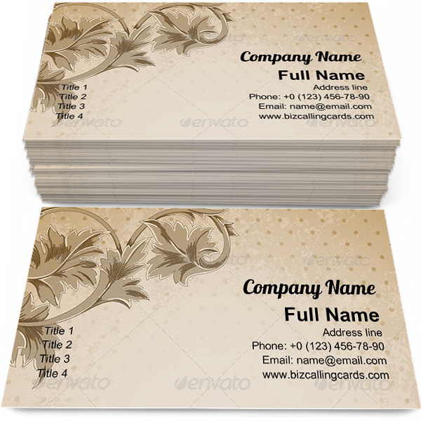 Sample of Vintage floral ornament business card design for advertisements marketing ideas and promote grunge branding identity