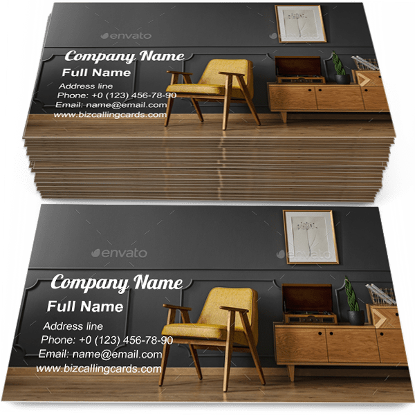 Sample of Vintage room interior business card design for advertisements marketing ideas and promote classic apartment branding identity
