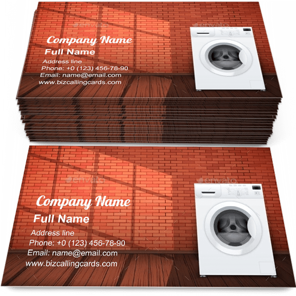 Sample of Washing Machine calling card design for advertisements marketing ideas and promote washer branding identity