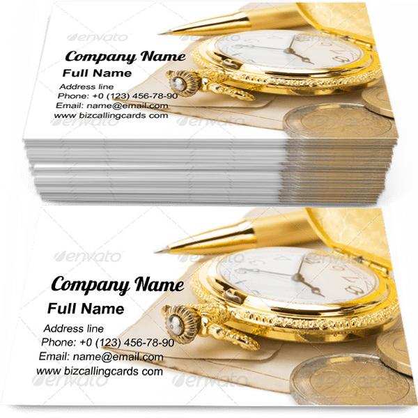 Sample of Watch and pen at paper business card design for advertisements marketing ideas and promote accessory shop branding identity