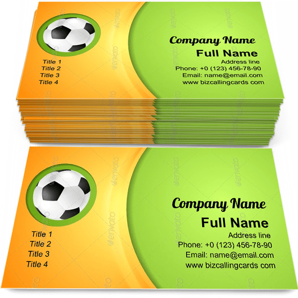Sample of Waves Football Sport calling card design for advertisements marketing ideas and promote soccer ball branding identity