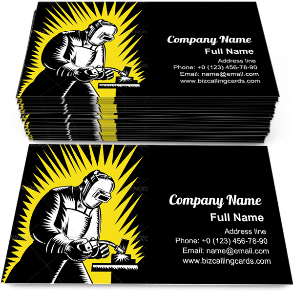 Sample of Welder Metal Worker business card design for advertisements marketing ideas and promote welding branding identity