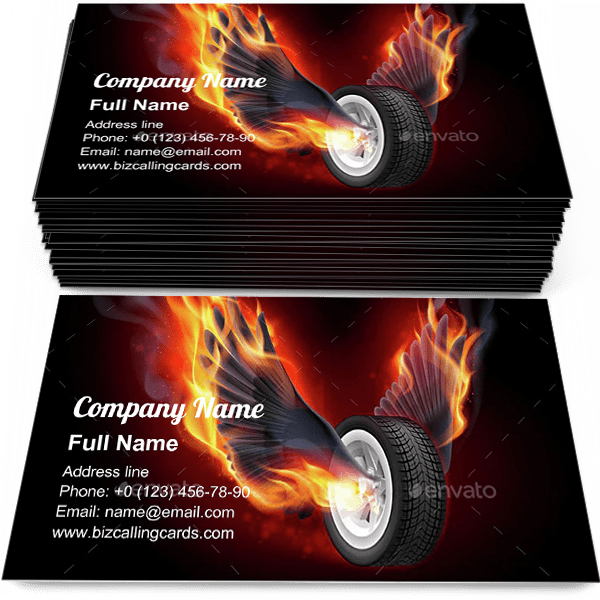 Sample of Wheel with Fire Wings calling card design for advertisements marketing ideas and promote burning tires branding identity