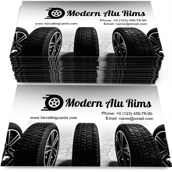 Sample of Wheels with modern alu rims calling card design for advertisements marketing ideas and promote vulcanization service branding identity