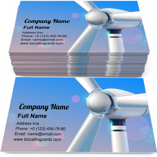 Sample of Wind power station calling card design for advertisements marketing ideas and promote alternative energy branding identity