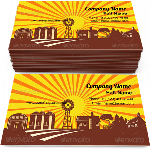 Sample of Windmill and Countryside business card design for advertisements marketing ideas and promote farming branding identity