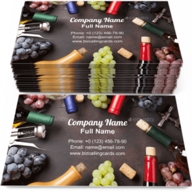 Wine bottles and grapes Business Card Template