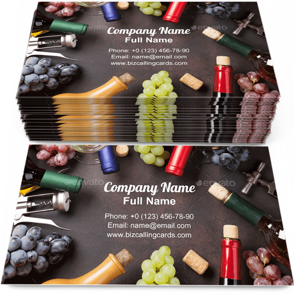 Sample of Wine bottles and grapes business card design for advertisements marketing ideas and promote winery branding identity