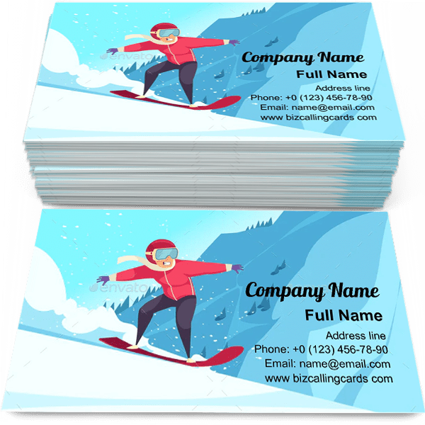 Sample of Winter extreme sports business card design for advertisements marketing ideas and promote snowboard cup branding identity
