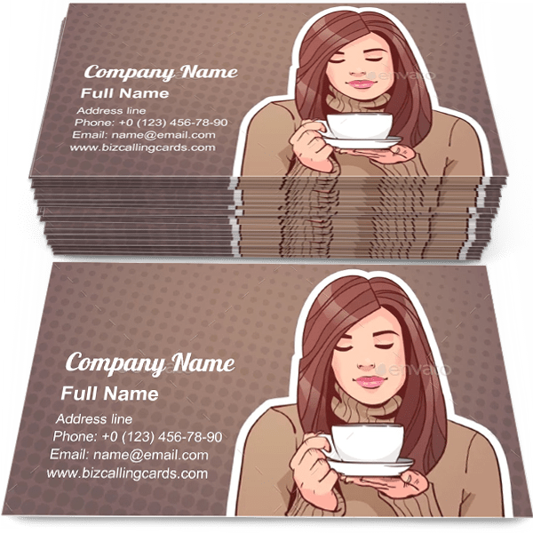Sample of Woman Holding Cup business card design for advertisements marketing ideas and promote coffeshop branding identity