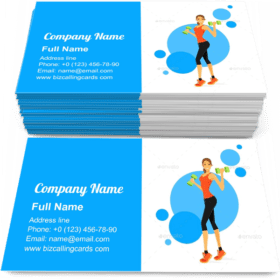 Woman Show Bicep Business Card Template