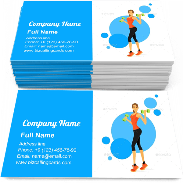 Sample of Woman Show Bicep calling card design for advertisements marketing ideas and promote Fitness Trainer branding identity
