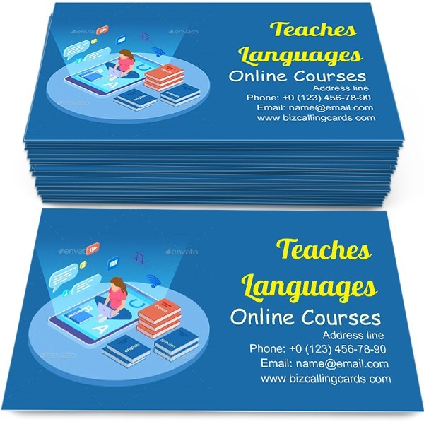 Woman Teaches Languages Business Card Template