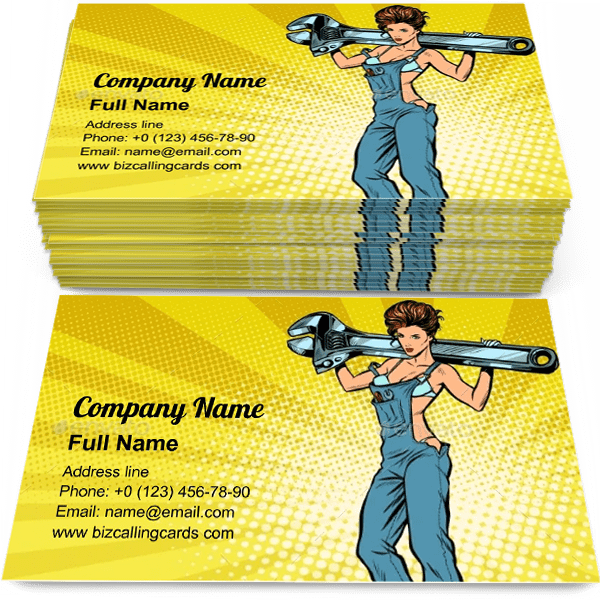 Sample of Woman with a Wrench business card design for advertisements marketing ideas and promote Repair Service branding identity