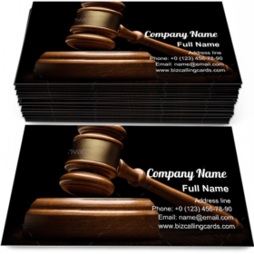 Wooden gavel on black Business Card Template