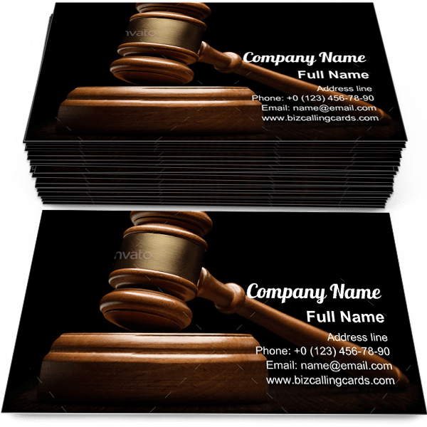 Sample of Wooden gavel on black business card design for advertisements marketing ideas and promote prosecutor branding identity