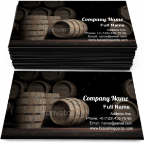 Wooden wine barrels Business Card Template