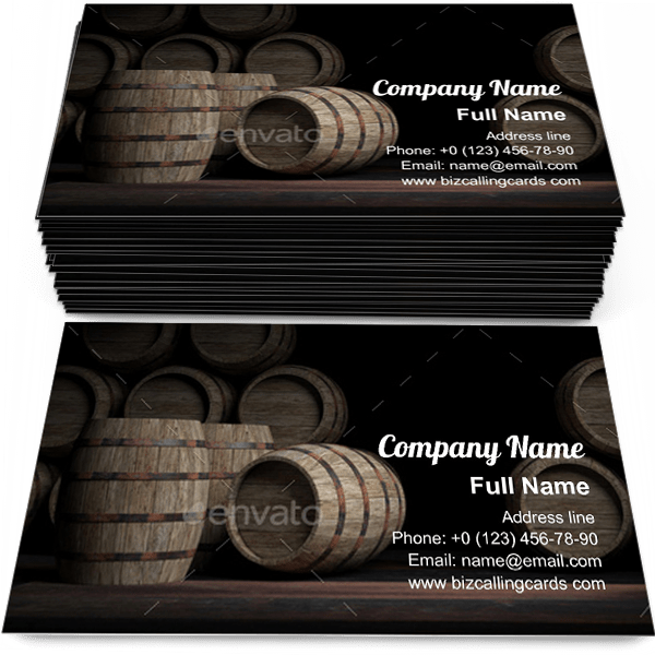 Sample of Wooden wine barrels calling card design for advertisements marketing ideas and promote alcohol beverage branding identity