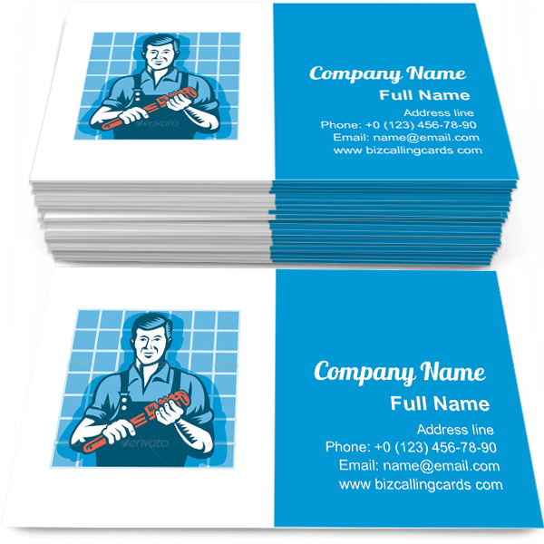 Sample of Worker With Monkey Wrench business card design for advertisements marketing ideas and promote Plumber branding identity
