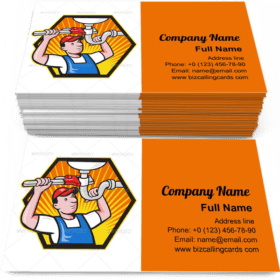 Wrench repairing bathroom Business Card Template