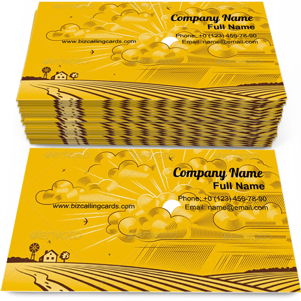 Sample of Yellow Clouds Over Felds business card design for advertisements marketing ideas and promote farm branding identity