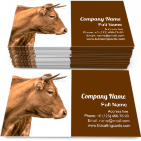 Young cattle with horns Business Card Template