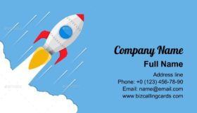 Flying rocket Business Card Template
