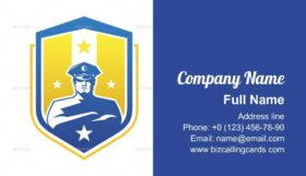 Security guard with shield Business Card Template