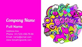 Colorful stickers and badges Business Card Template
