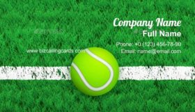 Tennis ball on Court Business Card Template