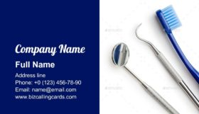 Dentists tools and toothbrush Business Card Template