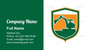 Mechanical Excavator Shield Business Card Template
