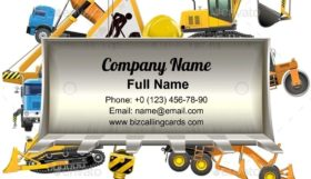 Frame with Bulldozer Shovel Business Card Template