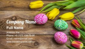 Easter eggs and tulips Business Card Template