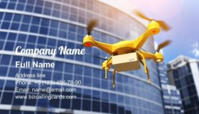 Quadrocopter carrying a parcell Business Card Template