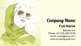 Spring Fashion Girl Business Card Template
