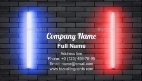 Blue and Red Neon Lamps Business Card Template