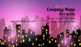 Night city silhouette Business Card Template
